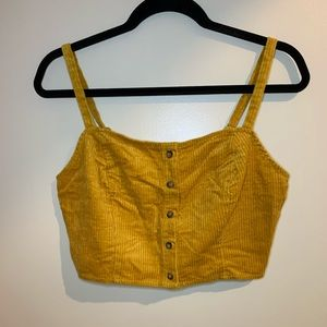 Mustard Yellow Button Down Crop Top NEW